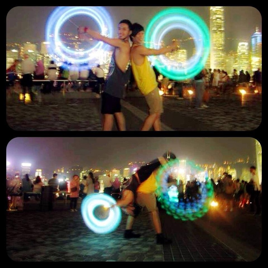 poi dance at the front  famous hongkong light show