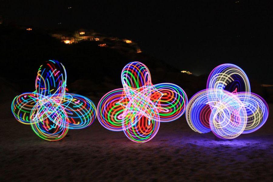 LED Hooping on the beach