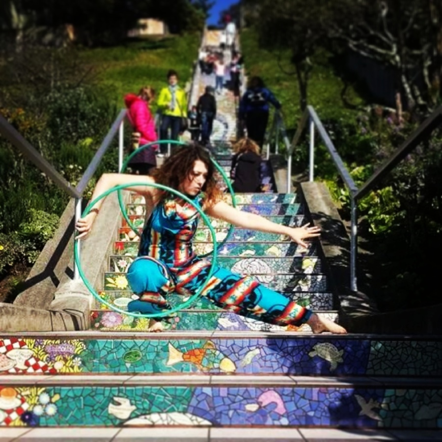 isopuppy at the mosaic stairs in San Francisco