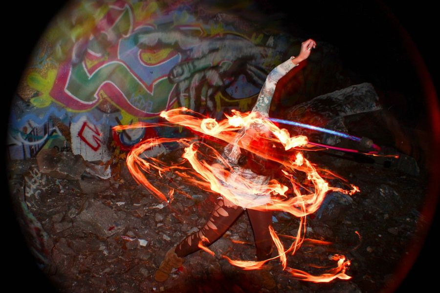Fire Hooping at the Quarry