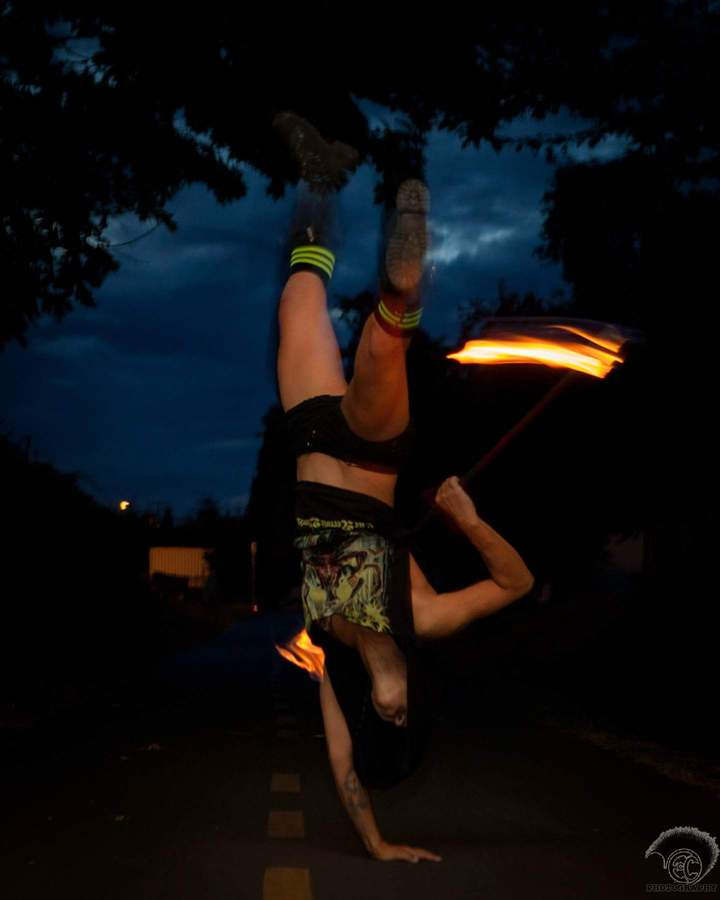 Messing around with a fire staff