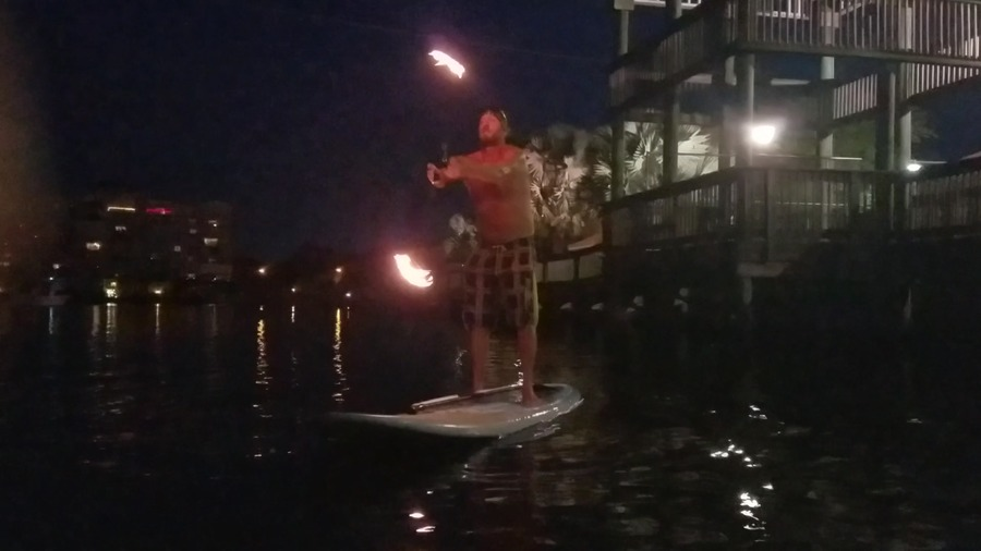 Fire poi on the water..