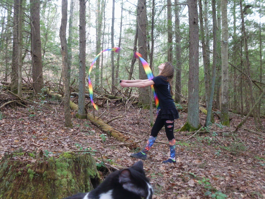 Rainbow tails in the woods with my cat =^-^=