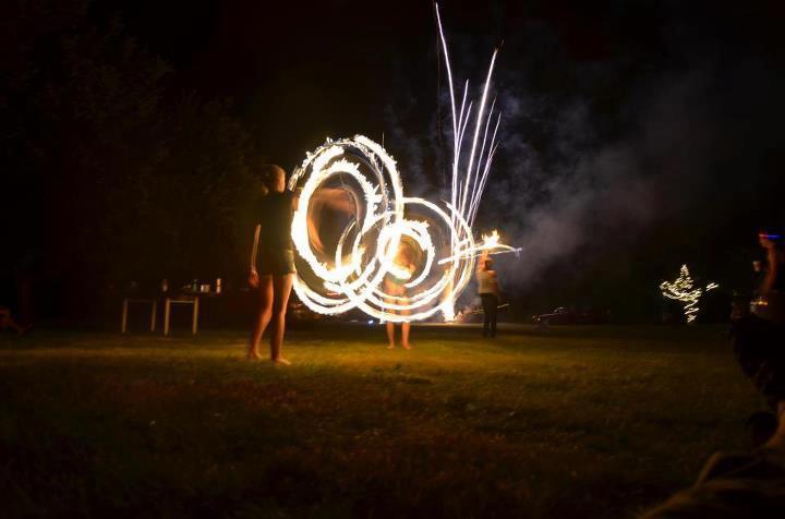 Fire Hooping Fireworks