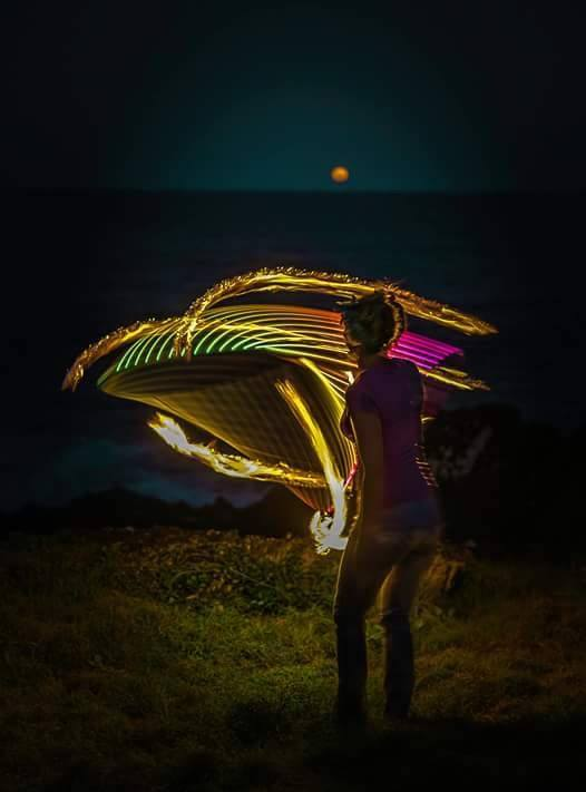 Fire & LED hooping by the moonrise