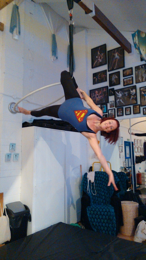 Superman does Aerial Hoop