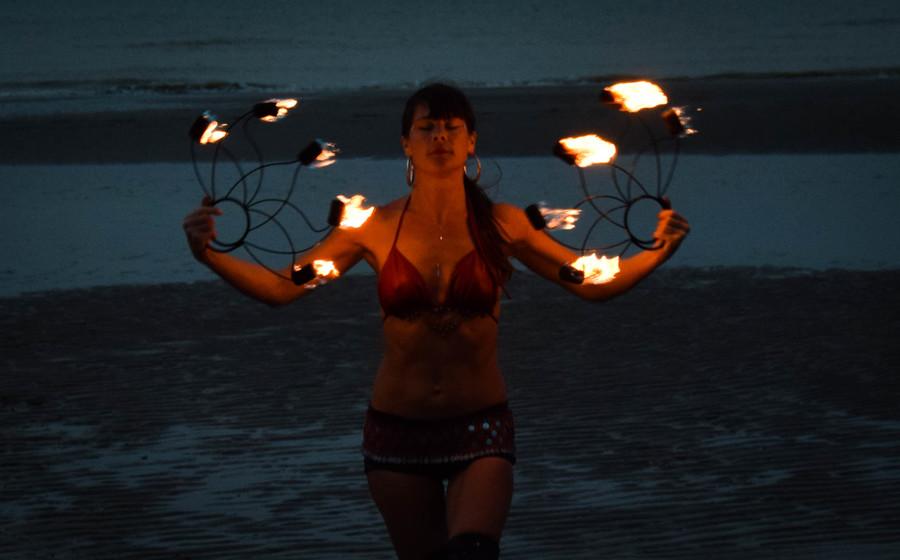 Fire fan on a hot indian summer