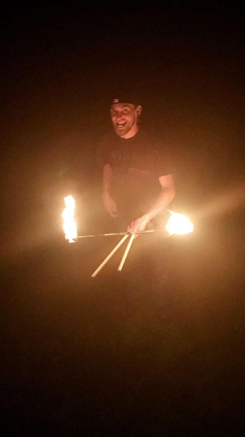 My first try at fire devil sticks