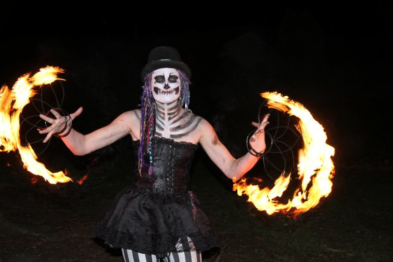 a fire spinning ghoul: