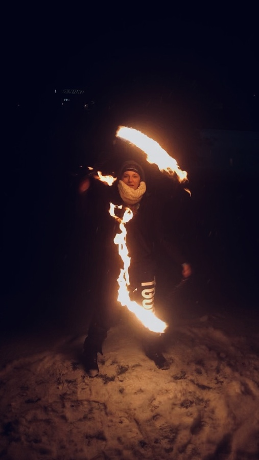 Scythe spinning in the snow
