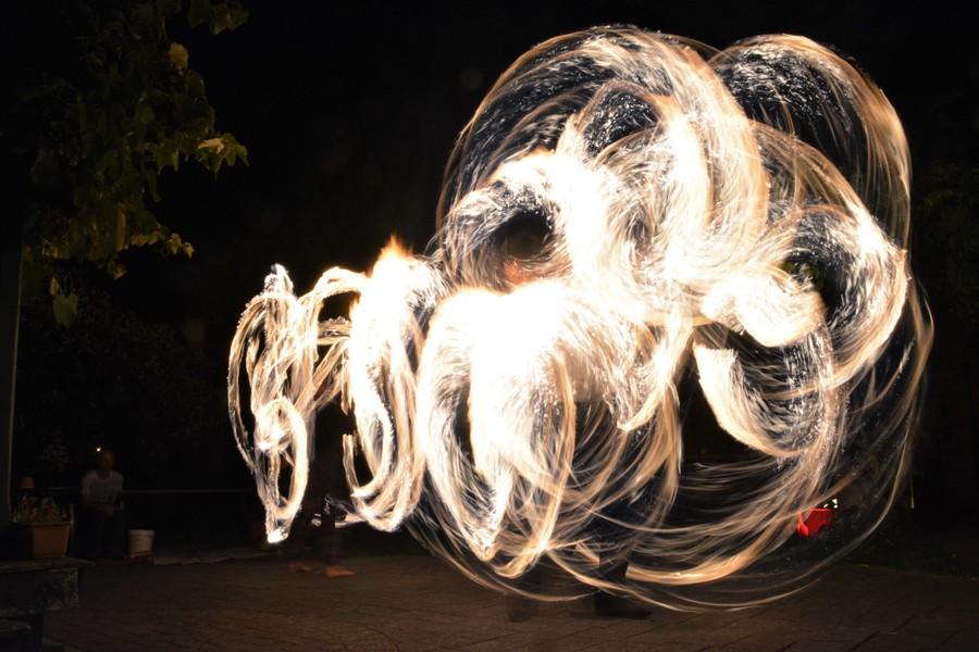 Impromptu fire show, Jugglers Rest hostel, New Zealand