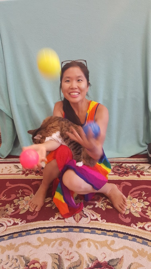Snuggling while Juggling