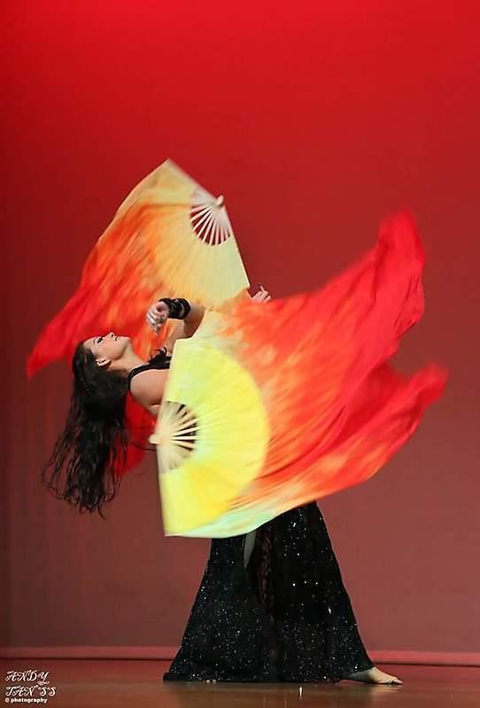 Fiery fan veil poi