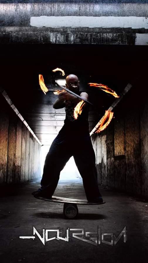 Fire dragonstaff on indo/balance board
