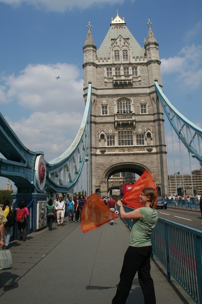 On Tower Bridge, London, flags.