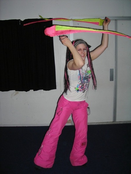 Me spinning for a friend\'s artwork, with my funky pink/black dreads!