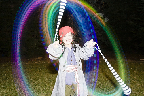 Captain Jack Sparrow spinning LED sock poi (at age 4)