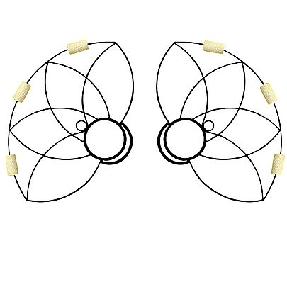 Small Lotus Fire Fans, Pair of Lotus Petal Fire Fans with Carry Bag.