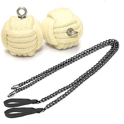 Monkeyfist Fire Poi, Pair of Pro Chain Monkey Fist Fire Poi Medium