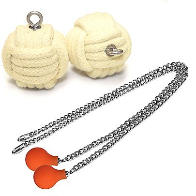 Pair Knob Monkey Fist Fire Poi - Medium