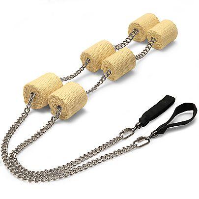 Triple bearing diaabolo, Pair of Triple Headed Oval Twist Chain Fire Poi