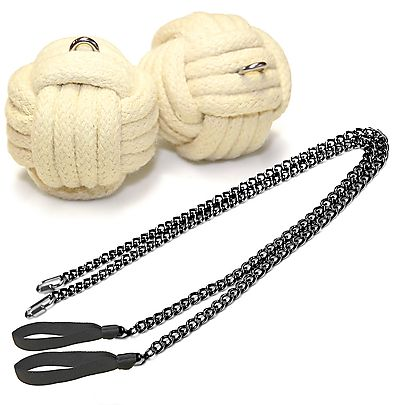 Monkeyfist Fire Poi, Pair of Pro Chain Monkey Fist Fire Poi Large