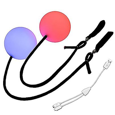 Glow LED Poi, Multi-Function Contact LED Pendulum Poi with V2 handles