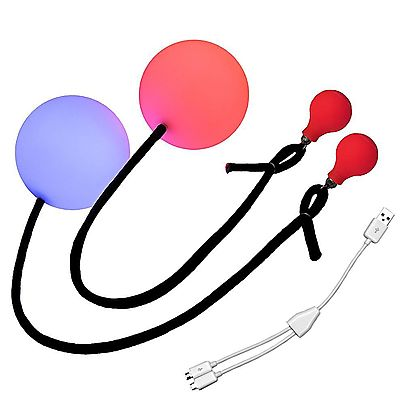 Pair of Pendulum Contact Poi with 315 Inch 80mm Balls, Multi-Function Contact LED Pendulum Poi with WT4 Knob handles