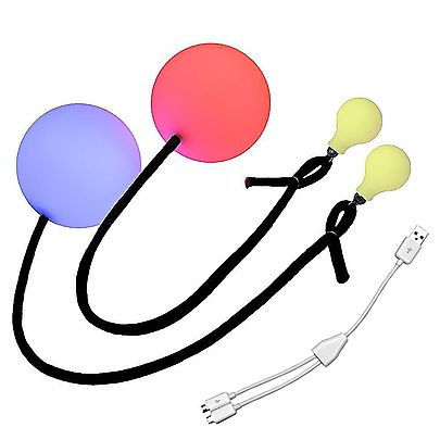 Pair of Pendulum Contact Poi with 315 Inch 80mm Balls, Multi-Function LED Pen Poi with Glow knobs
