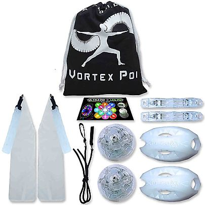 Fusion Contact Fire and LED Staff Kit, Vortex LED Poi Set with Helix Handles