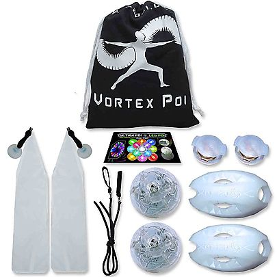Pair of Striped Foxy Sock Poi with Soft Poi Weights, Vortex LED Poi Set with UltraKnobs