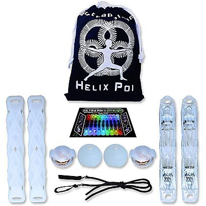Juggle Dream Quartz 2 Diabolo Set, Helix LED Poi Set with UltraKnobs